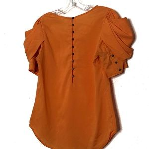 Anthro Lost April bright orange short sleeve top